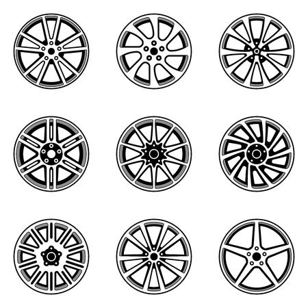 Set of car wheel rim. Vector illustration