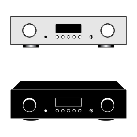 Digital integrated amplifier. Sound equipment. Vector illustration Ilustrace