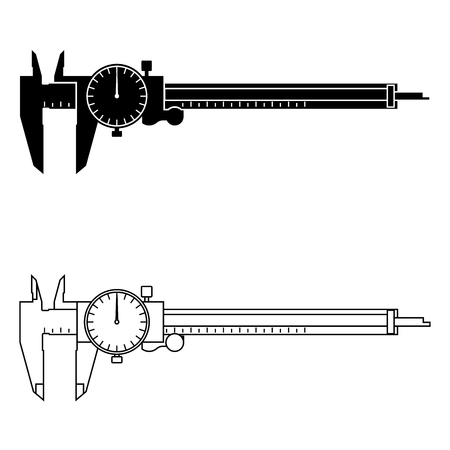 Dial caliper. Measuring device. Vector illustration Çizim