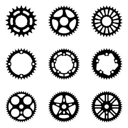 Sprocket wheel icon set. Bicycle parts. Silhouette vector