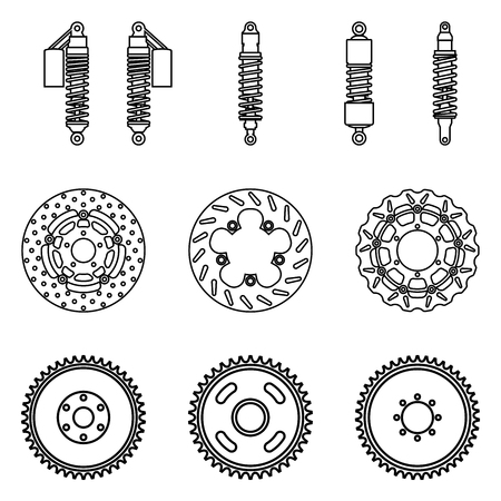 Motorcycle parts. Suspension and brake. Vector illustration Çizim