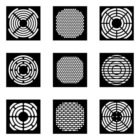 Conjunto de iconos de rejilla de ventilador de refrigeración. Vector silueta