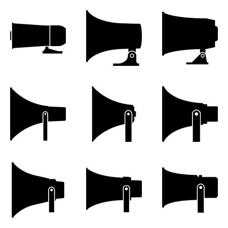 Horn speaker. Silhouette vector icons Illustration