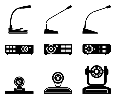Conference equipment icons. Microphone, projector and camera. Vector illustration