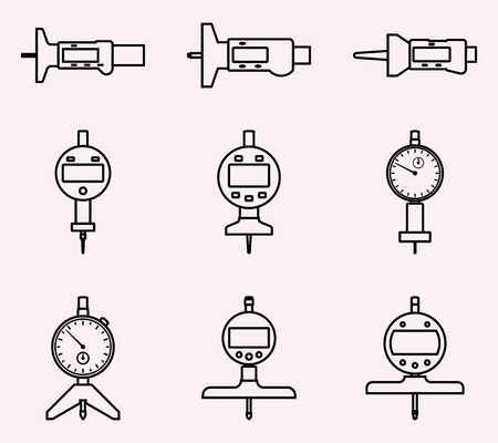Satz Tiefenmesser. Flache Vektorsymbole