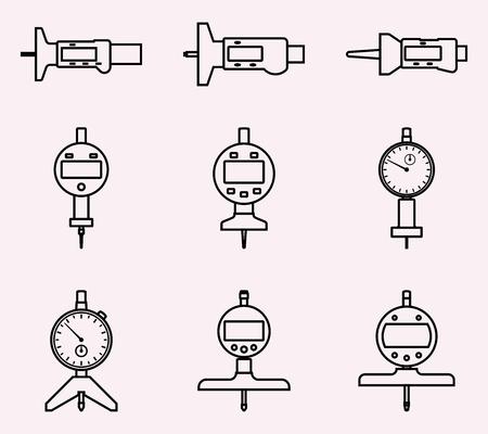 Set di profondimetro. Icone vettoriali piatte