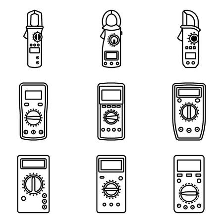 Multímetro digital automotriz. Iconos de vector plano
