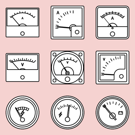 Analog ammeter and voltmeter. Flat vector icons