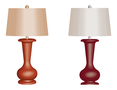 Table lamp. 3D effect. Vector illustration