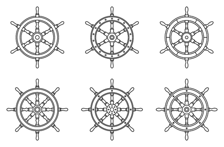 Ship steering wheel. Flat icons. Thin line vector