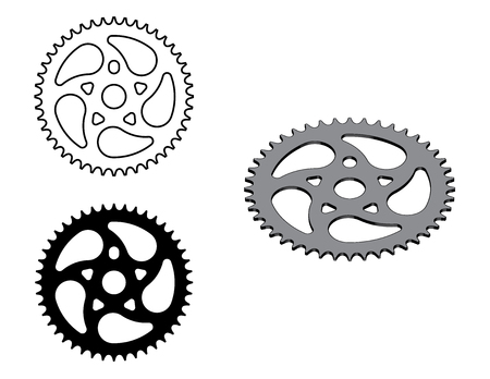 Sprocket wheel. Bicycle parts. Flat and 3D effect vector Ilustrace