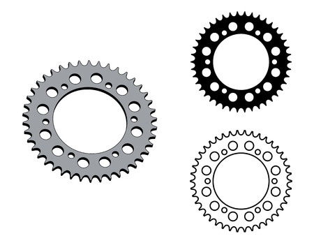 Steel sprocket wheel. Machine parts. Flat and 3D effect vector Illustration