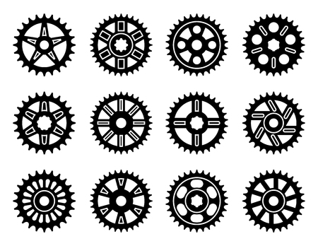 Various types of roller chain sprockets. Silhouette vector icons Ilustrace