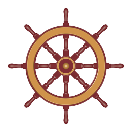 Sailboat steering wheel. 3D effect. Vector illustratio