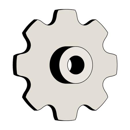 Round link chains sprocket. Machine parts. 3D effect vector