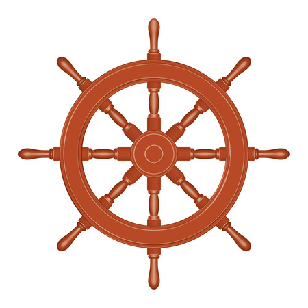 Wooden ship wheel. Classic style. 3D effect vector