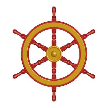 Brass and wood ship wheel. 3D effect vector