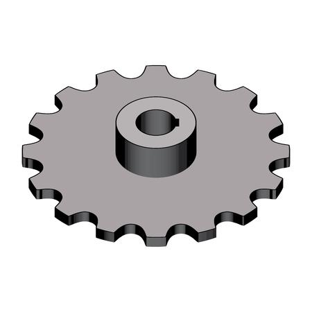 Sprocket for round link chains. 3D effect. Vector illustration Ilustrace