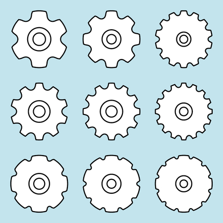 Sprocket for conveyor chain. Thin line vector icons