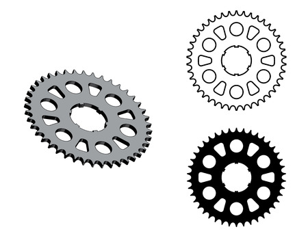 Sprocket wheel. Replacement parts. Flat and 3D effect vector Ilustrace