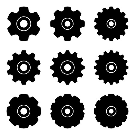 Sprocket for conveyor chain. Silhouette vector icons