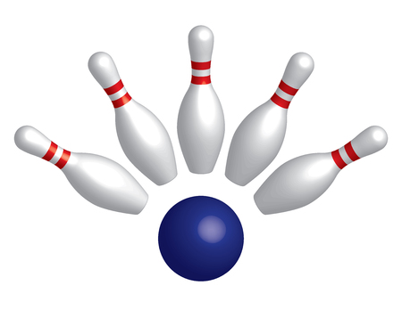 Bowling pins and bowling ball. 3D effect. Vector illustration