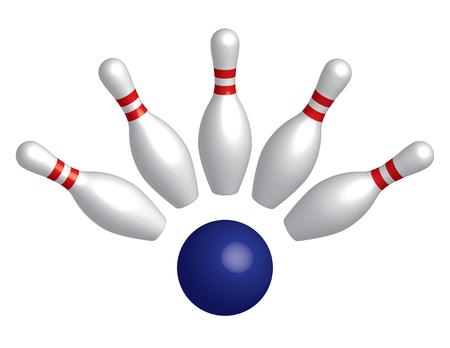 Perni da bowling e palla da bowling. Effetto 3D. Illustrazione vettoriale Vettoriali