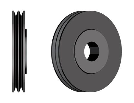 Steel V belt pulley. Machine parts. 3D effect vector