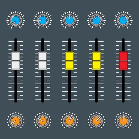Audio sound mixer. Mixing console. Vector illustration