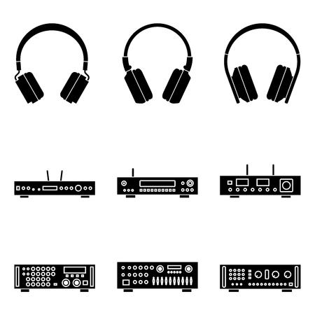 Set of audio equipment. Heaphone and amplifier. Silhouette vector