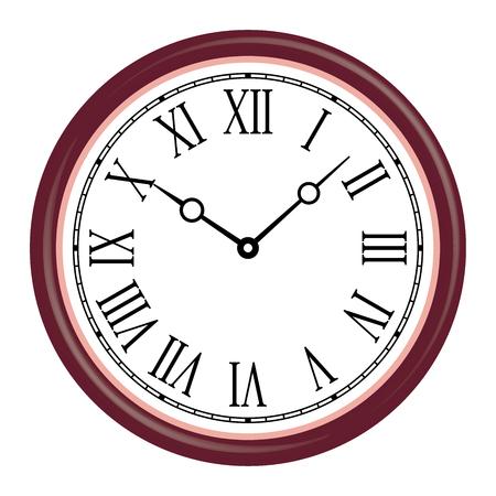 Wooden wall clock. Roman number. Vector illustration Ilustrace
