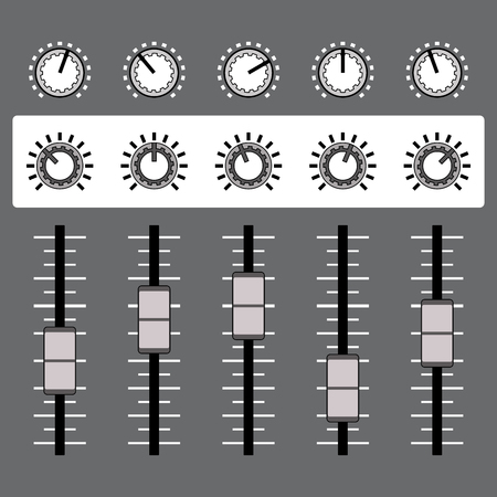 Audio sound mixer. Sound equipment. Vector illustration