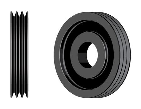 Steel V belt pulley. Mechanical transmission. 3D effect vector