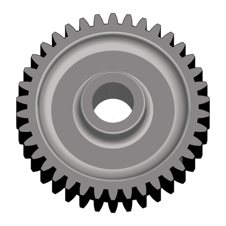 Steel gear wheel. Component of mechanical transmission. 3D effect vector Ilustrace