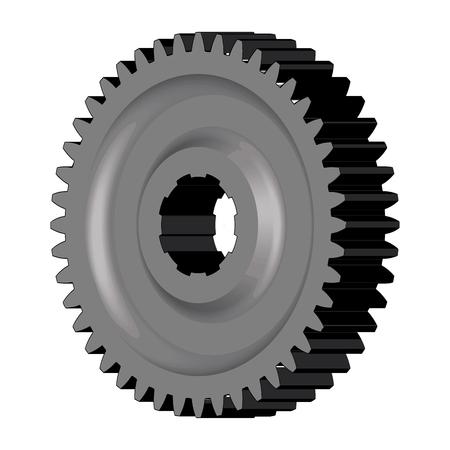 Steel gear wheel. Machine parts. 3D effect. Vector illustration Ilustrace