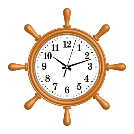 Ship wheel wall clock. 3D effect. Vector illustration Ilustrace