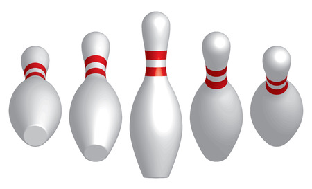Bowling pins. 3D effect. Vector illustration