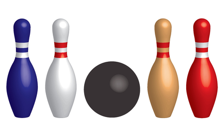Bowling ball and bowling pins. 3D effect vector