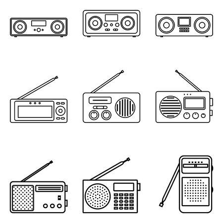 Set of portable radio icons. Thin line vector