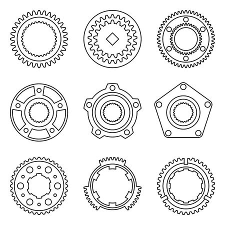 Synchronize ring, gear wheel, wheel hub assembly. Car parts. Thin line icons