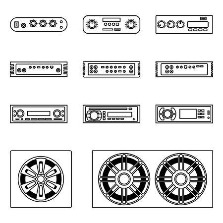Autoradio. Verstärker, Multimedia-Receiver und Lautsprecher. Vektorgrafik