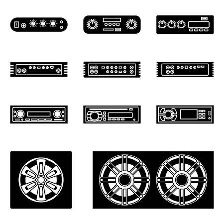 Autoradio. Verstärker, Multimedia-Receiver und Lautsprecher.