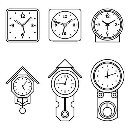 Pendulum clock and alarm clock. Home furniture. Flat icons