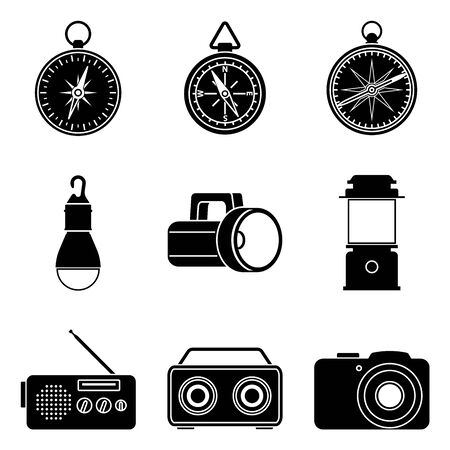 Camping equipment and accessories. Silhouette icons
