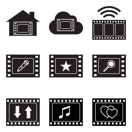 Film frame and symbols. Ilustrace