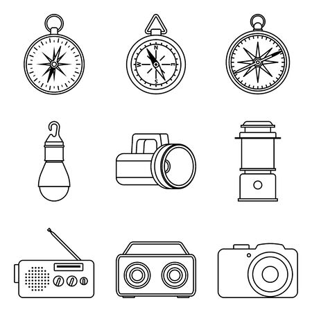 Camping equipment and accessories. Flat icons
