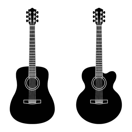 Acoustic guitar. Musical instrument. Silhouette icons Ilustrace