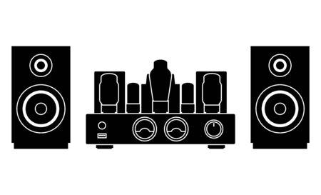Lautsprecher und Röhrenverstärker. Heimkino. Vektorgrafik