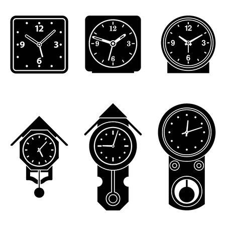 Pendulum clock and alarm clock. Home furniture. Silhouette icons Illustration