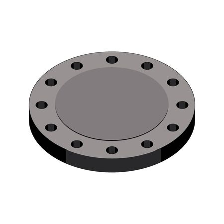 Blind flange for closing end of pipe. Machine parts.